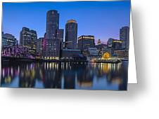 Boston Skyline Seaport District Greeting Card