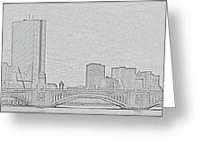 Boston Skyline Stencil Greeting Card