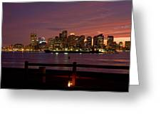 Boston Skyline Sunset Greeting Card