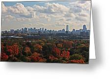 Boston Skyline View From Mt Auburn Cemetery Greeting Card