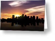Boston Sunset Skyline  Greeting Card