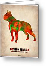Boston Terrier Poster Greeting Card by Naxart Studio