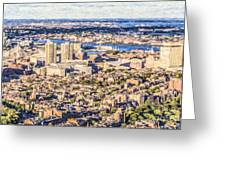Boston Usa Elevated View Greeting Card