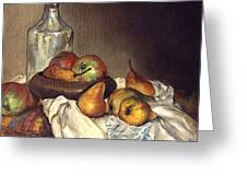 Bottle And Pears Greeting Card