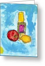 Bottle Apple And Lemon Greeting Card