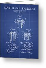 Bottle Cap Fastener Patent From 1907- Blueprint Greeting Card