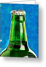 Bottle Neck Against Blue Painting Greeting Card