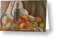 Bottle Of Bordeaux With Fruits Greeting Card