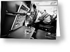 Bottle Of Water On Tray Table Interior Of Jet2 Aircraft Passenger Cabin In Flight Europe Greeting Card by Joe Fox