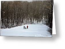 Bottom Of The Sled Hill Greeting Card