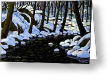 Boulder Brook In Winter Greeting Card