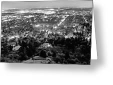 Boulder Colorado City Lights Panorama  Black And White Greeting Card