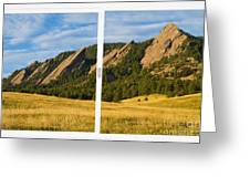 Boulder Colorado Flatirons White Window Frame Scenic View Greeting Card