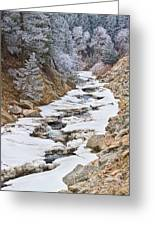 Boulder Creek Frosted Snowy Portrait View Greeting Card