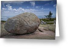 Boulder On Top Of Cadilac Mountain In Acadia National Park Greeting Card