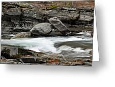 Boulders In Mcdonald Creek Greeting Card