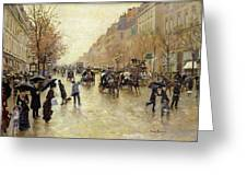 Boulevard Poissonniere In The Rain, C.1885 Oil On Canvas Greeting Card