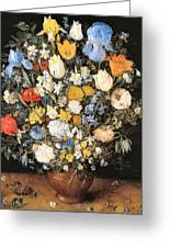 Bouquet In A Clay Vase Greeting Card