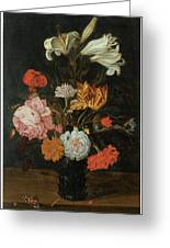 Bouquet In A Roemer Greeting Card by Jan Baptist Van Fornenburgh