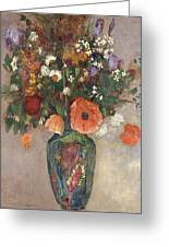 Bouquet Of Flowers In A Vase Greeting Card