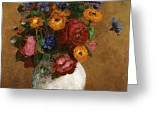 Bouquet Of Flowers In A White Vase Greeting Card