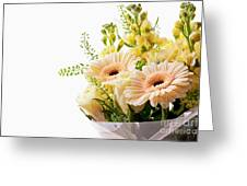 Bouquet Of Flowers On White Background Greeting Card