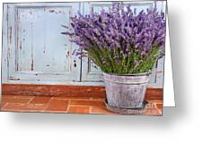 Bouquet Of Lavender In A Rustic Setting Greeting Card