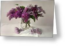 Bouquet Of Lilacs In A Glass Pot Greeting Card