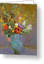 Bouquet Of Wild Flowers  Greeting Card by Odilon Redon