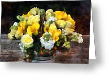 Bouquet With Roses And Calla Lilies Greeting Card