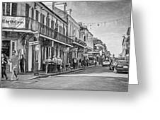 Bourbon Street Afternoon - Paint Bw Greeting Card