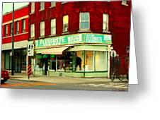 Boutique Fleuriste Coin Vert St Henri Flower Shop Notre Dame Montreal Urban Scenes Carole Spandau  Greeting Card