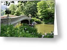 Bow Bridge And Rowboat Nyc Greeting Card