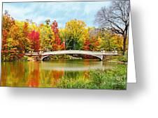 Bow Bridge Autumn In Central Park  Greeting Card