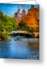 Bow Bridge Central Park Greeting Card by Amy Cicconi
