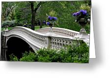 Bow Bridge Flower Pots - Central Park N Y C Greeting Card