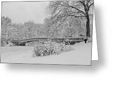 Bow Bridge In Central Park During Snowstorm Bw Greeting Card