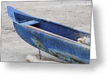 Bow Of A Blue Wood Fishing Boat Greeting Card