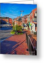 Bow Street Looking Downhill Towards Market Street Greeting Card