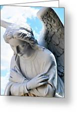 Bowing Male Angel With Blue Sky And Clouds Greeting Card