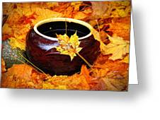 Bowl And Leaves Greeting Card