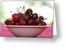 Bowl Of Cherries Closeup Greeting Card
