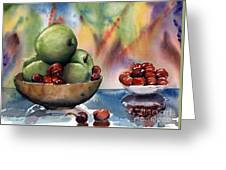 Apples In A Wooden Bowl With Cherries On The Side Greeting Card