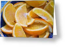 Bowl Of Sliced Oranges Greeting Card