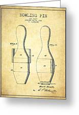 Bowling Pin Patent Drawing From 1938 - Vintage Greeting Card