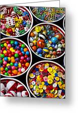 Bowls Of Buttons And Marbles Greeting Card