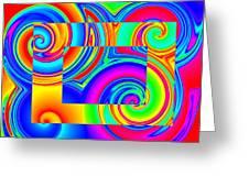 Boxed Rainbow Swirls 1 Greeting Card