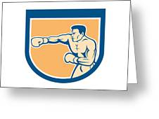 Boxer Boxing Punching Shield Cartoon Greeting Card