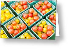 Boxes Of Cherry Tomatoes On Display Greeting Card