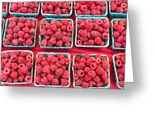 Boxes Of Fresh Red Raspberries Greeting Card